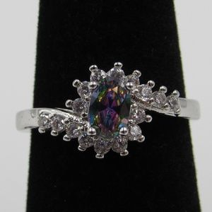 Vintage Size 6 Sterling Color CZ Diamond Ring